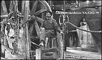 Photo: Joseph Brown, Assistant Driller, Dingman #1 well (Calgary Petroleum Products #1), Turner Valley, Alberta. Circa 1914-1917 (Glenbow Archives NA-5262-39)